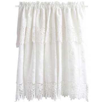 White Cotton Coffee Curtain Embroidery Short Curtain