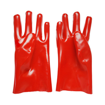 Red gloves dipped in rubber flannelette 27cm