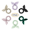100% Silk Hairband Scrunchies with Rabbit Ear Charmeuse
