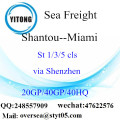 Shantou Port Sea Freight Shipping To Miami