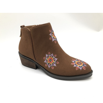 Women and Ladies Flowers Embroidery Ankle Boots