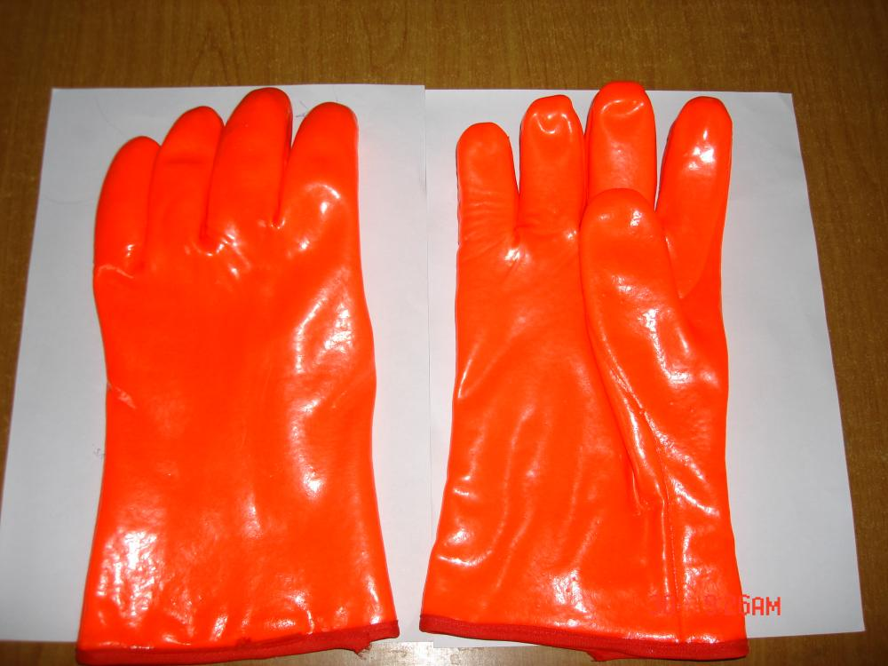 Chemical Resistant Gloves Orange PVC Coated 12""