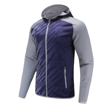 Mens Long Sleeve Soccer Wear Zip Up Hoodies