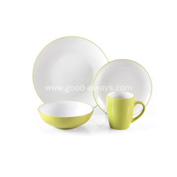 16 Piece Stoneware Two Tone Color Dinner Set  Green