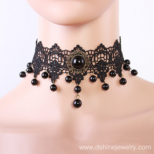 Black Lace Bead Choker Simple Gothic Collar Necklace