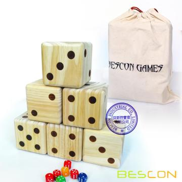 Bescon Jumbo Solid Wooden Yard Dice Set of 6pcs -Big Outdoor Gaming Dice Set 3.5 inch; with Drawstring Bag, Large Wood Dice