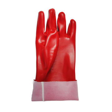 Red PVC coated gloves polyster linning 35cm