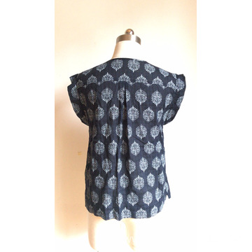 Round Neck with Loose Cotton Voile Printed Blouse