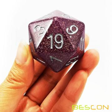 Bescon Glitter Jumbo D20 38MM, Big Size 20 Sides Dice Glitter Purple, Big 20 Faces Cube 1.5 inch