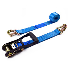 "2"" 5T 50mm Rubber Handle Black Electrophoresis Ratchet Buckle Cargo Lashing Straps With 2 Inch Double J Hooks"