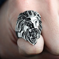 Stainless Steel Punk Mens Gold Lion Head Ring