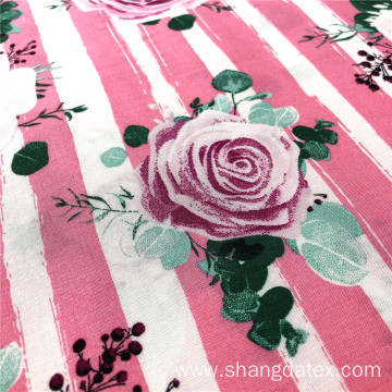 Woven Rayon 45S 105Gsm Stripe Design With Flower