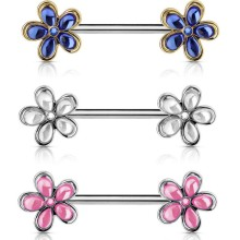 Crystal Flower Ends Nipple Ring Jewelry