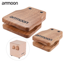 ammoon 2pcs Cajon Box Drum Large & Medium Drum Pad Companion Accessories Castanets for Hand Percussion Instruments Rubber Timber