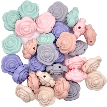 Food Grade BPA Free Flower Silicone Beads