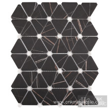 Triangle Sahara Black Marble Glass Mosaic