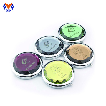 Metal round compact makeup pocket mirror