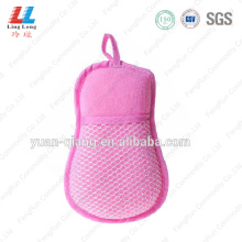 Pink microfiber shower bath sponge