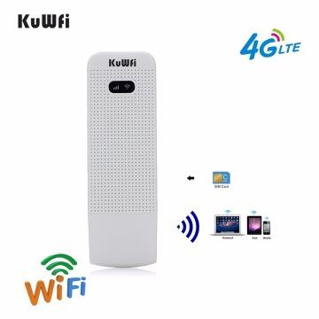 KuWFi 4G LTE Modem 3G/4G USB Dongle Mini Pocket Mobile Wifi Hotspots Unlocked Travel Car-Wifi Router With Sim Card Slot