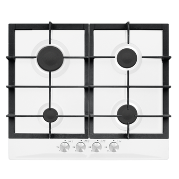 White 4-Burner Gas Hob Stainless Steel