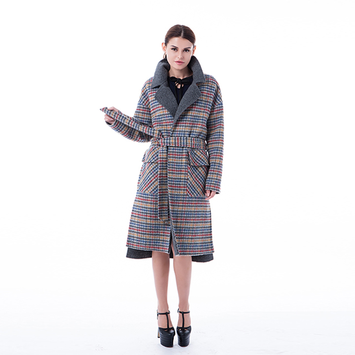 Vogue coloured checked cashmere overcoat