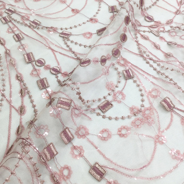 Pink Plastic Sequins Flat Lace Embroidery Fabric