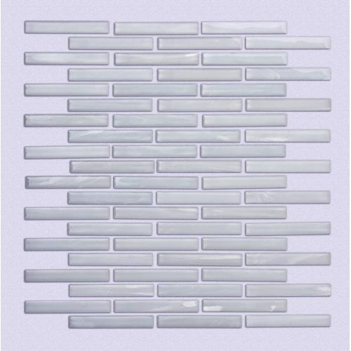 White long strip kitchen glass mosaic tiles