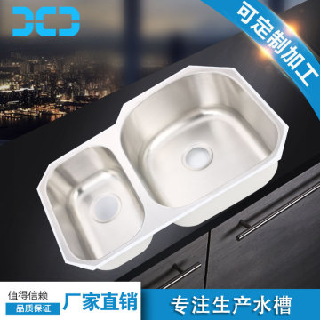 inox ss kitchen inset double bowl undermount sink