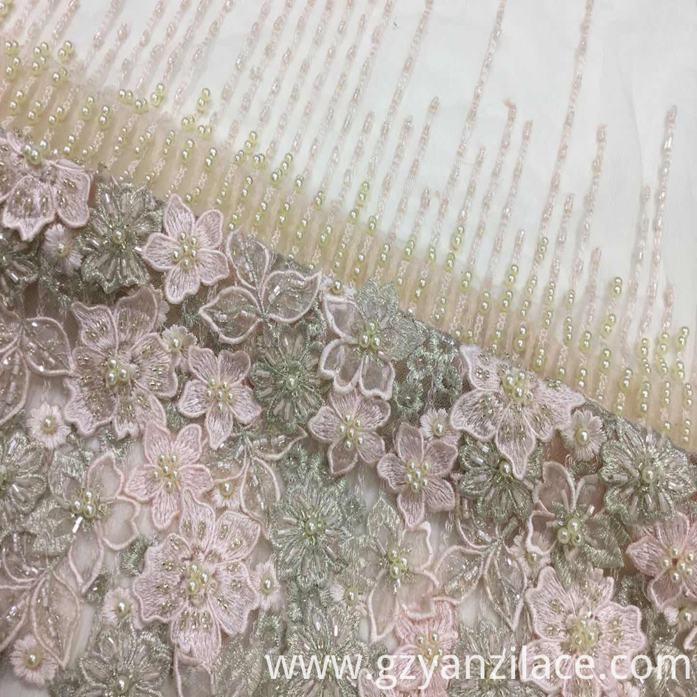 Beaded Fabric Pink