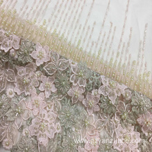 Apricot Heavy Beaded Embroidery Handwork Lace