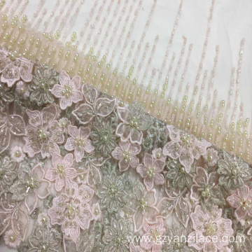 I-Apricot Heavy Beaded Embroidery Handwork Lace