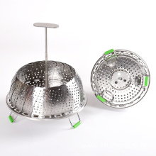 Flexible handle stainless steel vegetable steamer