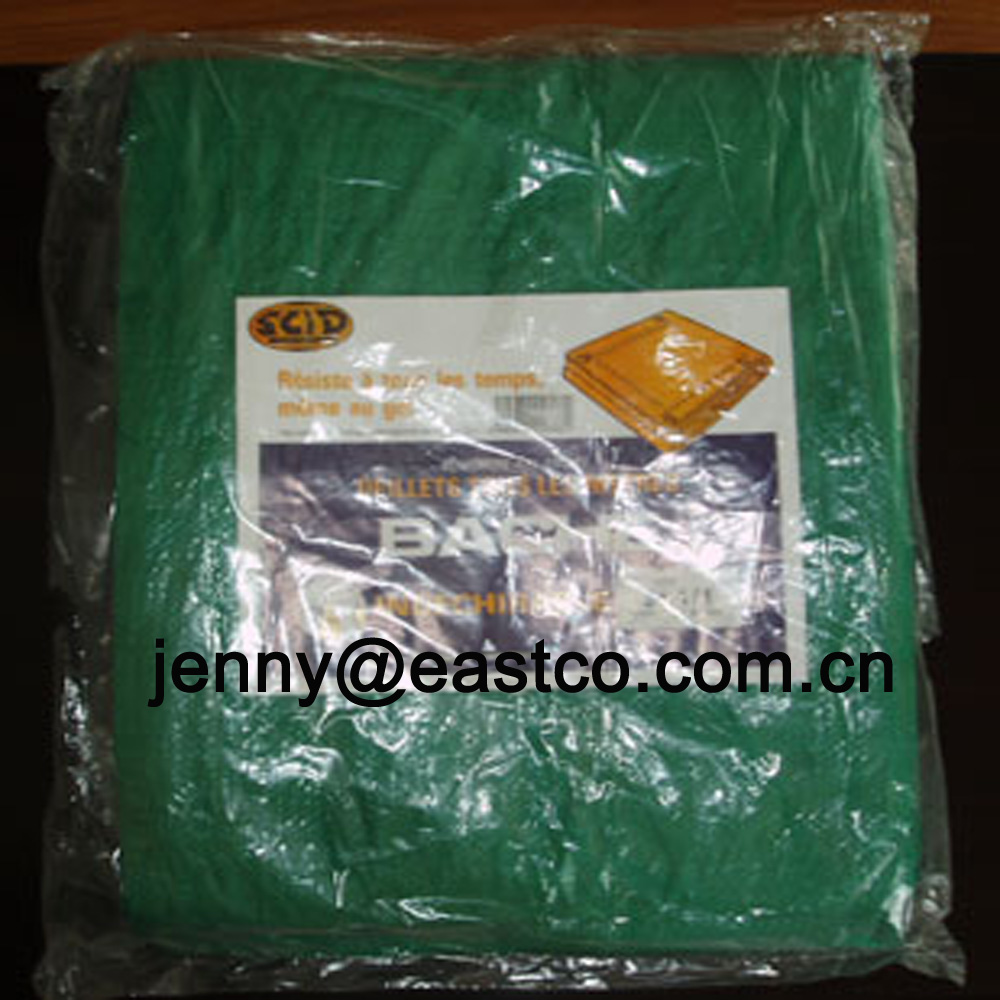 UV Green Tarpaulin in Polybag with paper label insert