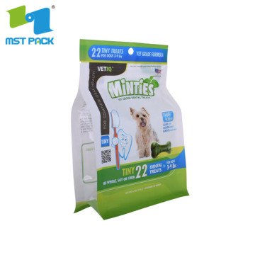 Resealable pet treat food pouches bags