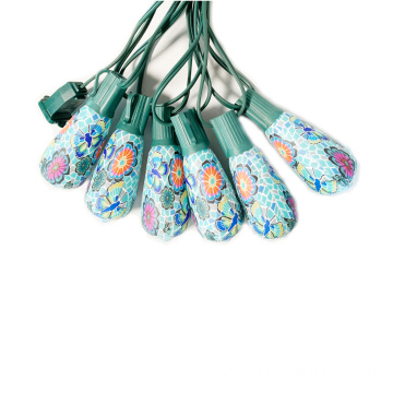 ST40 Flower Painting Plastic LED Outdoor String Light