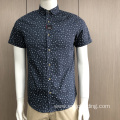 Male 100% cotton embroidery short sleeve print shirt