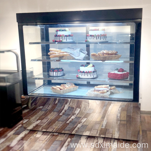 cake bread glass display refrigerated showcase