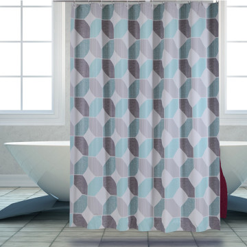 Shower Curtain PEVA Blue Grey Net