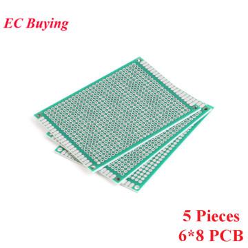 5pcs 6x8cm Double Side Prototype PCB Universal Printed Circuit Board DIY For Arduino 2.54mm Glass Fiber 6*8cm 60x80mm 60*80mm