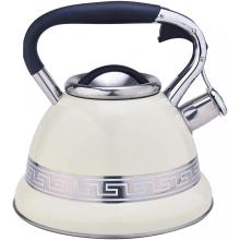 White with Stainless Steel Design Whistling Teapot
