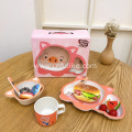 5-Piece Bamboo Dinnerware for Children Use
