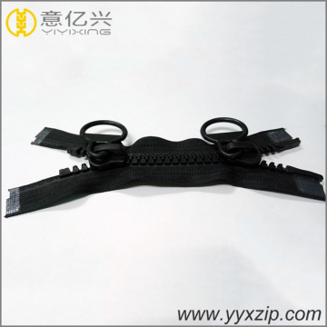 double sided black big teeth plastic zippers