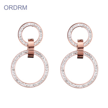 Simple rose gold crystal double hoop earrings