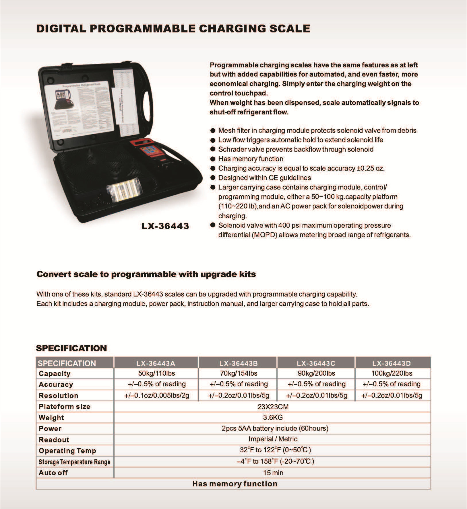 Refrigerant tools Programmable Charging Scale