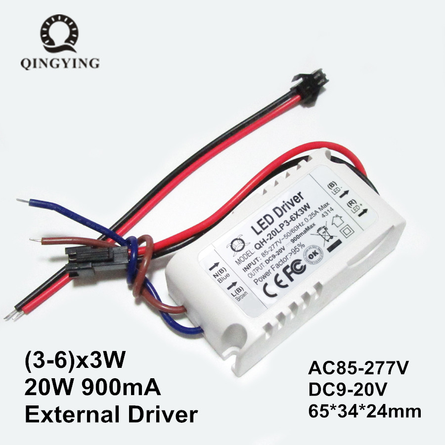 20W COB LED Driver 3-6x3W 900mA DC9-20V High Power Factor Constant Current LED Power Supply Lamp Lighting Transformers