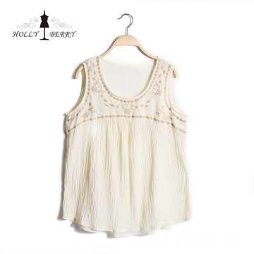 Lightweight Summer Sleeveless Crewneck Ivory Embroidered Vest