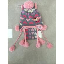 Children Jacquard Knitting  Winter Hat Gloves Scarf