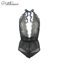 Fashion deep v cut lace bodysuit for women