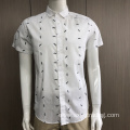 Male fashion 100%cotton short sleeve print shirt