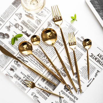 Food Grade Shiny Gold Spoon Fork Knife